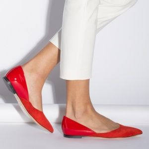 M. Gemi red suede and patent Saltare flats